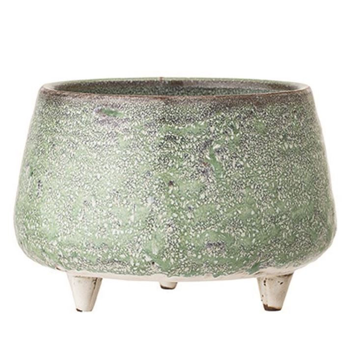 Green Reactive Glaze Stoneware Footed Planter