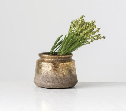 Terra-cotta Planter, Distressed Gold Finish