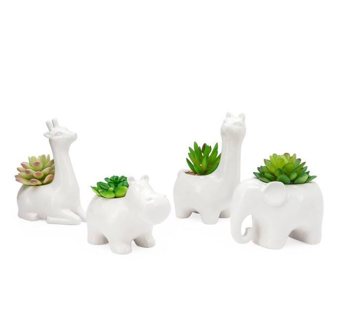 Animal Garden Ceramic Llama Potted Faux Succulent - 4 Styles