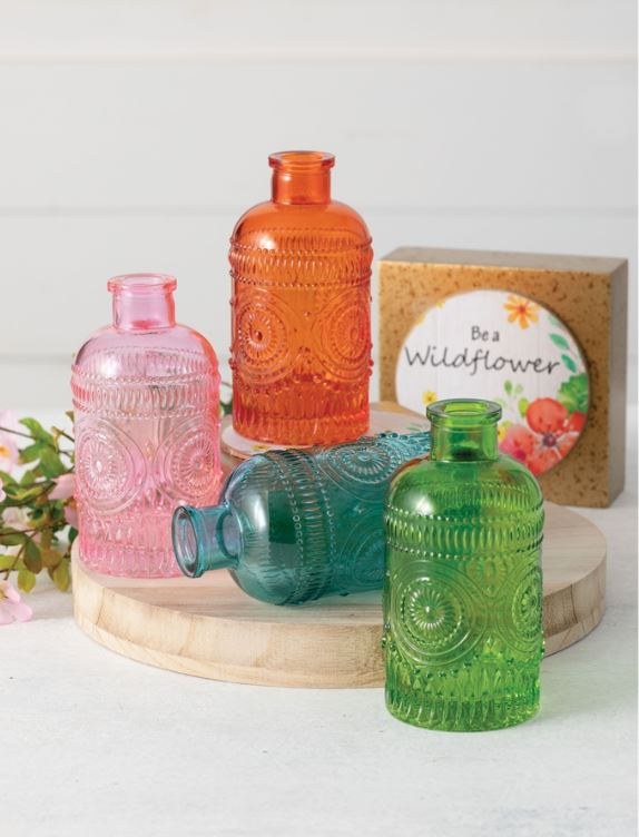 Short Colored Vintage Bottles - 4 Colors