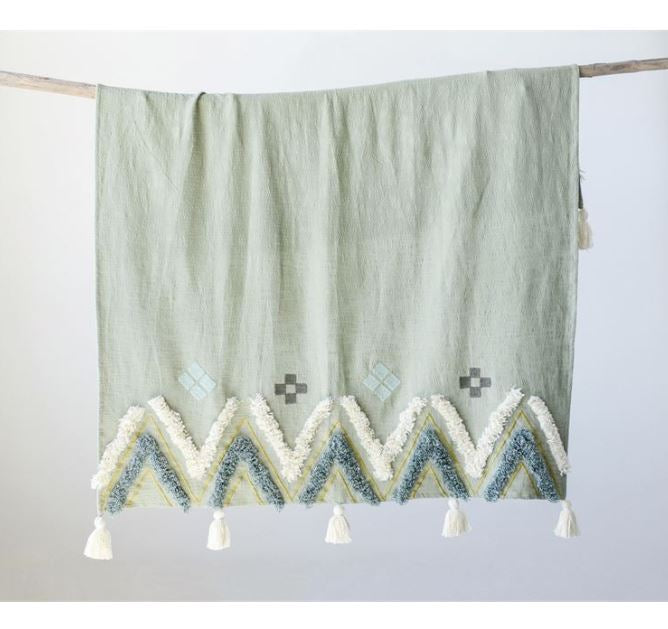 Sage Cotton Woven Embroidered Throw with Fringe & Tassels