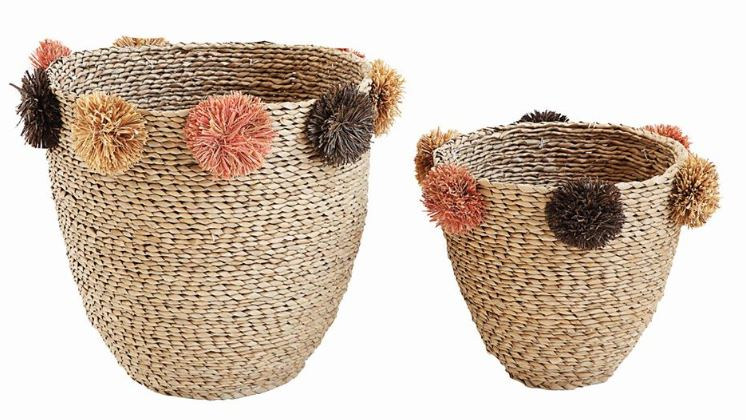 Natural Seagrass Baskets with Brown & Pink Pom Poms - 2 Sizes