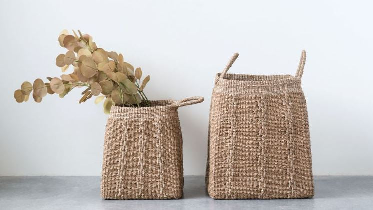 Hand-Woven Abaca Baskets with Handles - 2 Sizes