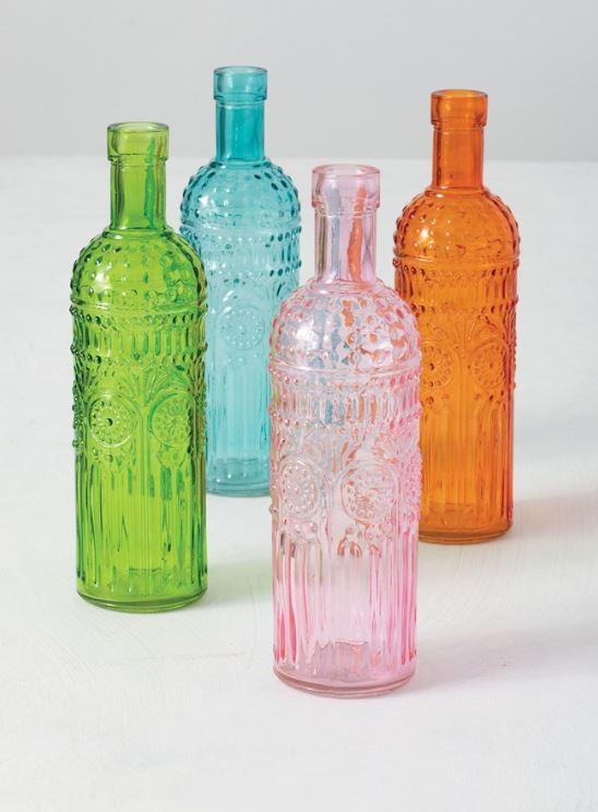 Tall Colored Vintage Bottles - 4 Colors