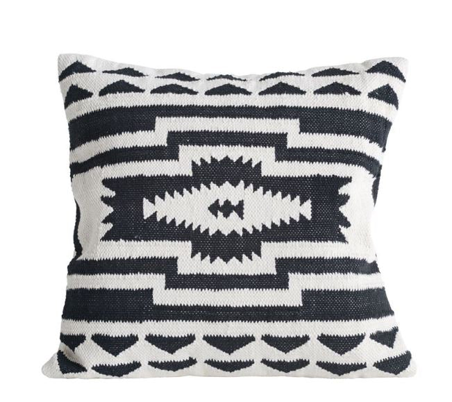 Black & Natural Cotton Kilim Pillow
