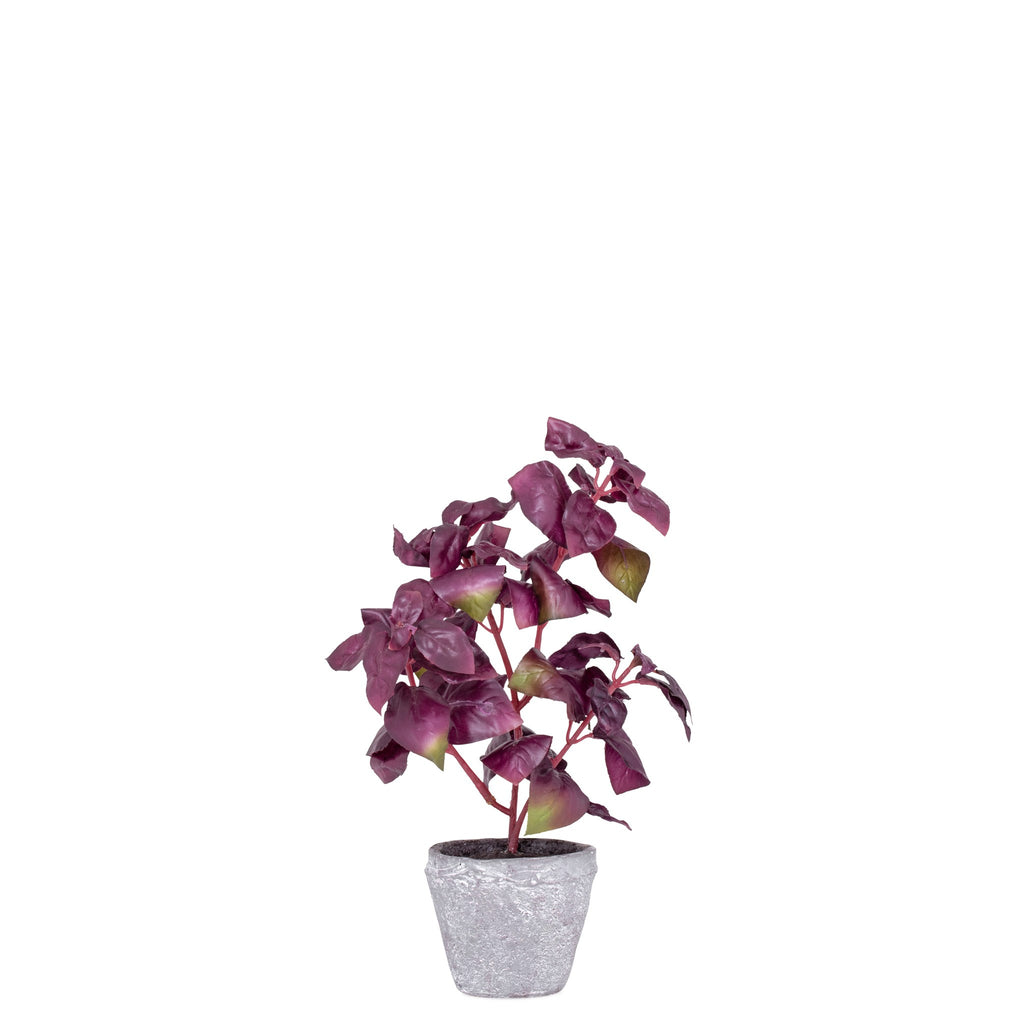 Provence Rustic Potted  Faux Purple Basil Herb Plant