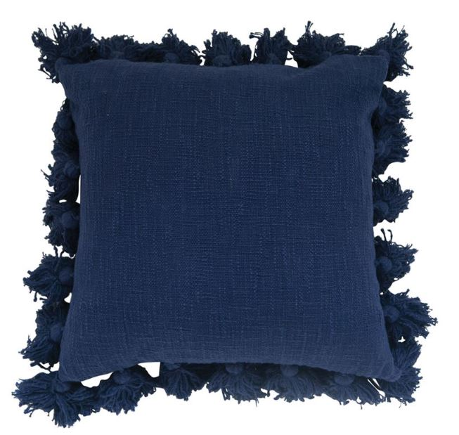 Cotton Woven Slub Pillow with Tassels - 4 Colors