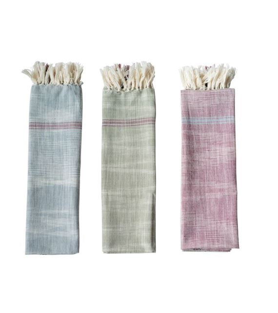 Cotton Woven Tea Towel with Stripes & Fringe