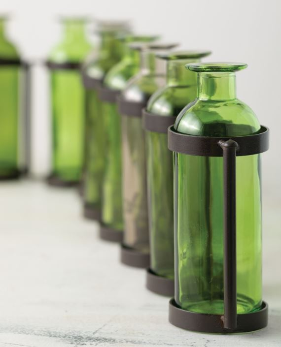 Metal & Green Glass Jointed Vase with 10 Bottles