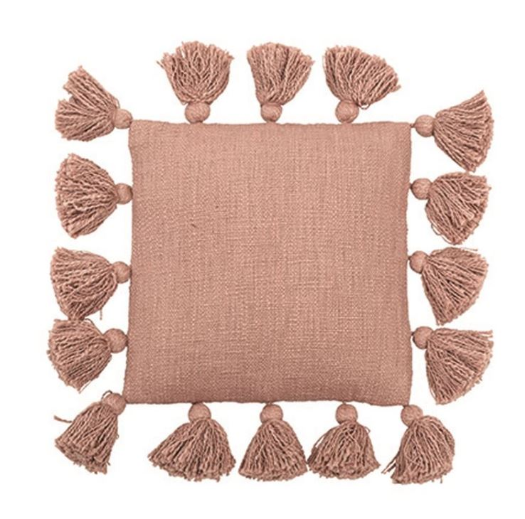 "12"" Square Cotton Pillow with Tassels - 2 Colors"