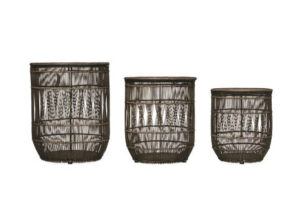 Hand-Woven Bamboo & Rattan Baskets with Lids - 3 Sizes