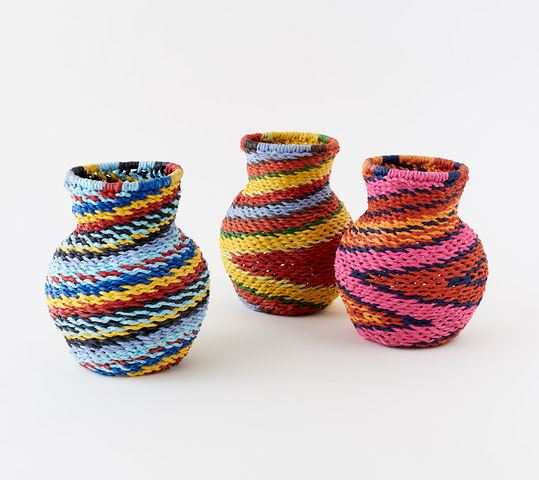 Recycled Paper Woven Jar and Vase
