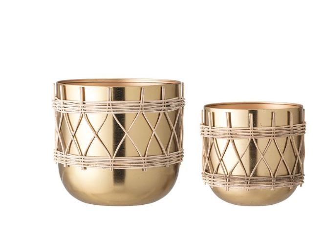 Round Metal Planters with Woven Rattan & Gold Electroplating - 2 Sizes