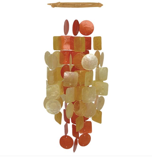 Red Orange Round Capiz Chime