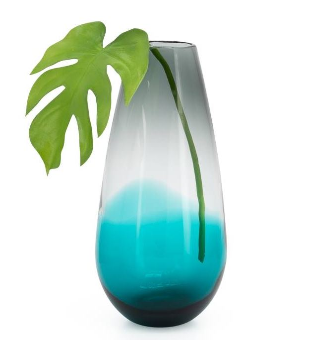 Smoke/Teal Ola Ombre Glass Bullet Vase - 2 Sizes