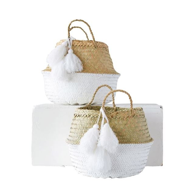 Painted Palm Leaf Collapsible Baskets, White with Tassel