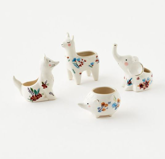 Flower Painted Animal Pots With Plant