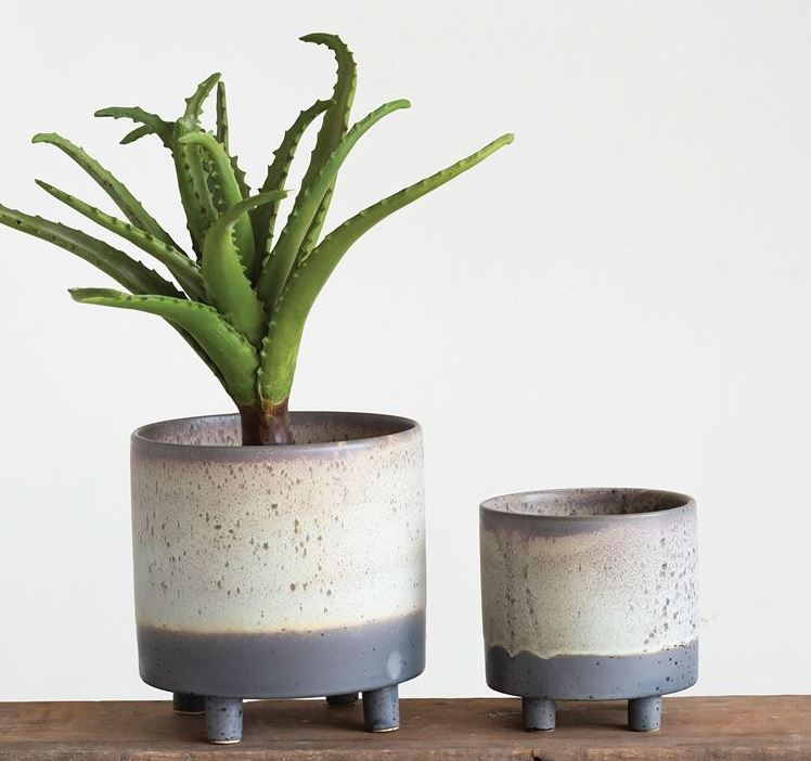 Matte Reactive Glaze Finish Stoneware Footed Planter - 2 Sizes