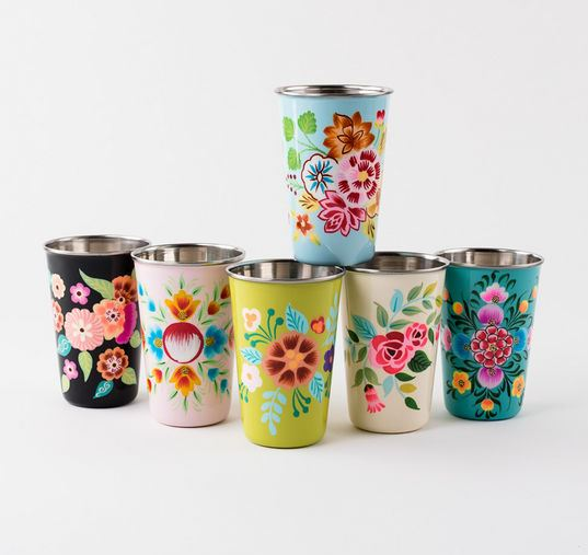 Set of 6 Hand Painted Stainless Steel Floral Cups