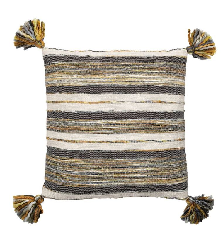 "20"" Square Textured Cotton Woven Pillow with Stripes & Tassels, Multi-Color"