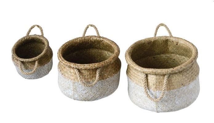 White & Natural Round Natural Seagrass Baskets - 3 Sizes