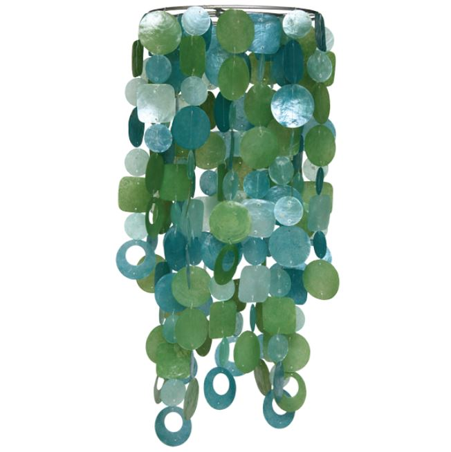 Tide Pool Teal Capiz Chandelier Chimes