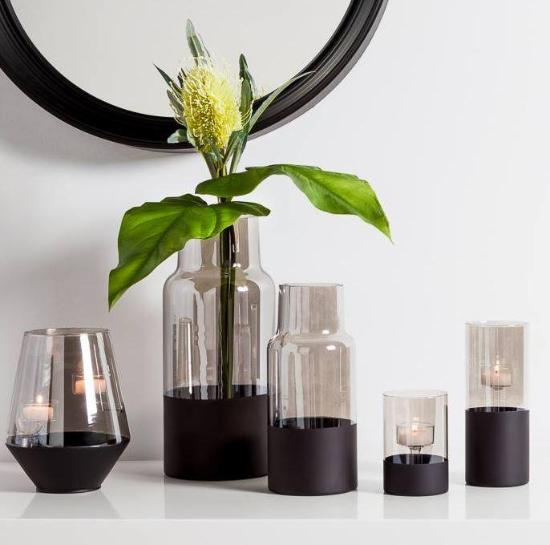 Onyx Base Smoke Glass Cylinder Vase - 2 Sizes