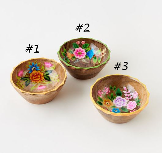 Floral Handpainted Wood Bowl - 3 Styles