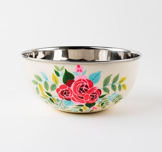 Hand Painted Stainless Steel Floral Bowl