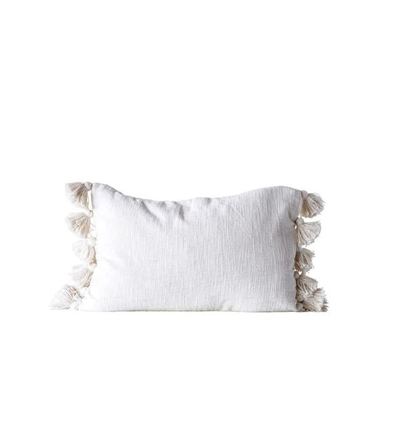 Cream Cotton Woven Slub Pillow with Tassels - 2 Styles