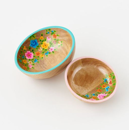 Floral Handpainted Wood Bowl - 2 Sizes