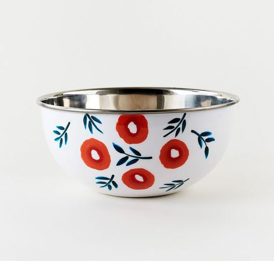 Hand Painted Stainless Steel Poppy Bowl