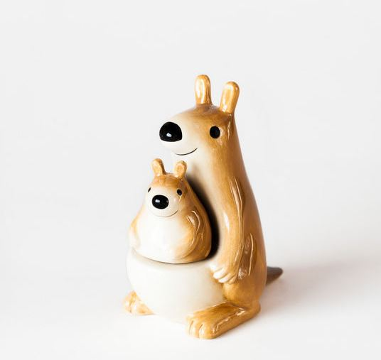 Ceramic Kangaroo and Joey Salt & Pepper Shakers
