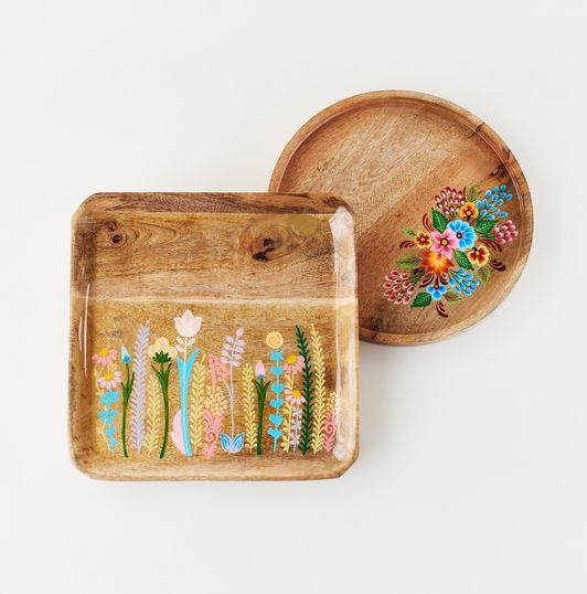 Floral Handpainted Wood Trays - 2 Styles