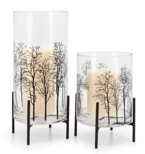 Aspen Tree Silhouette Glass Hurricane On Stand - 2 Sizes