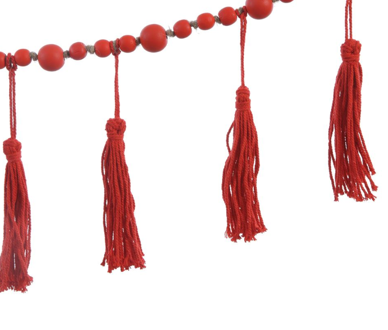 Red Paulownia Wood Bead Garland with Tassels