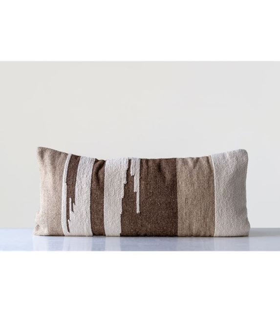 Brown Hand-Woven Wool Kilim Pillow
