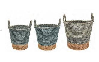 Hand Woven Blue Baskets - 3 Sizes