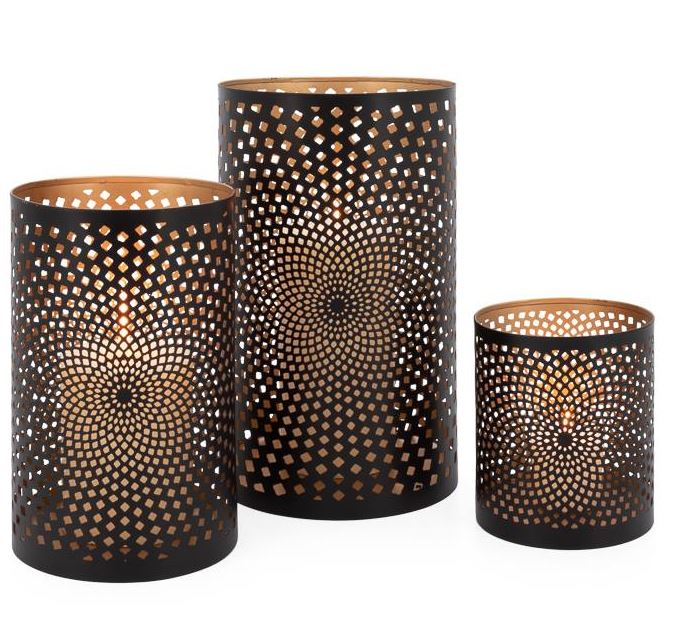 Set of 3 Spiro Metal Cutout Hurricane Candle Holders
