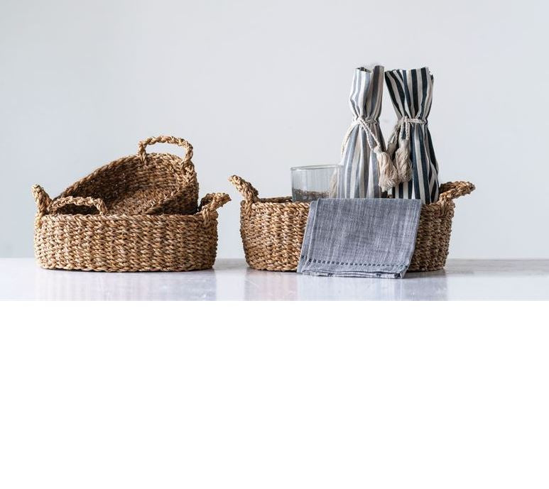 Set of 3 Nesting Oval Natural Woven Seagrass Baskets with Handles