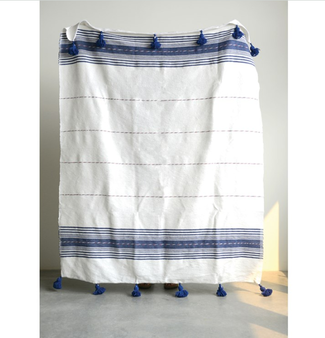 Navy Hand-Loomed Striped Cotton Throw with Tassels