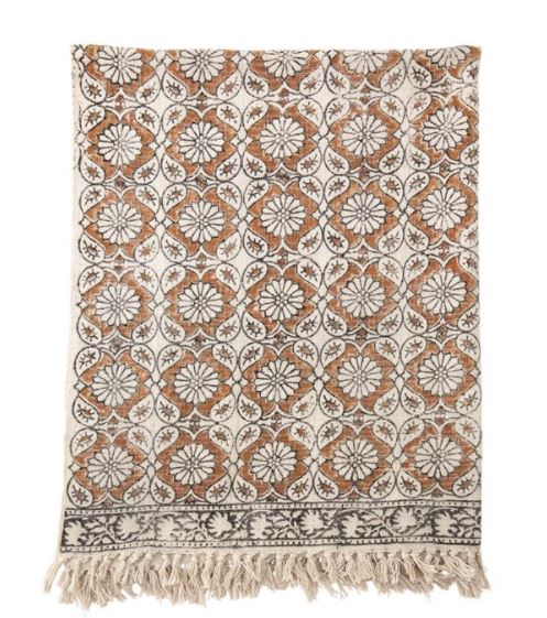 Cotton Printed Throw w/ Fringe - Multicolor