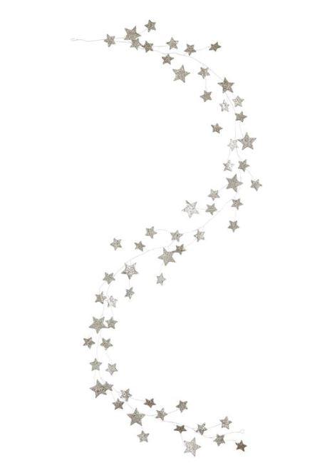 "72""L Glitter Star Garland, Silver Finish"