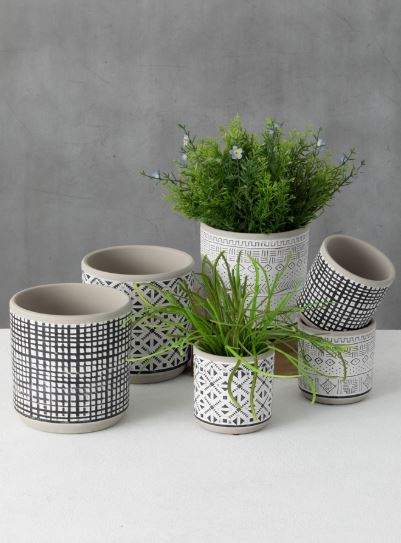 Small Patterned Clay Planter - 3 Styles