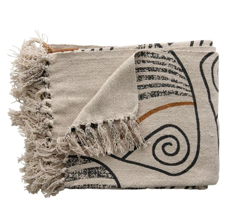 Recycled Cotton Blend Printed Throw with Fringe, Multi Color