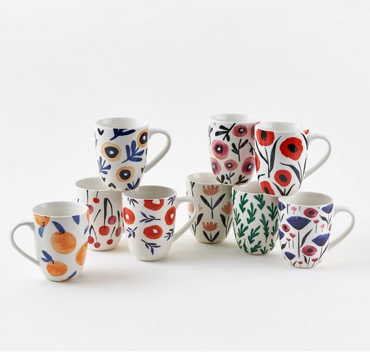 Set of 9 Porcelain Floral Cups