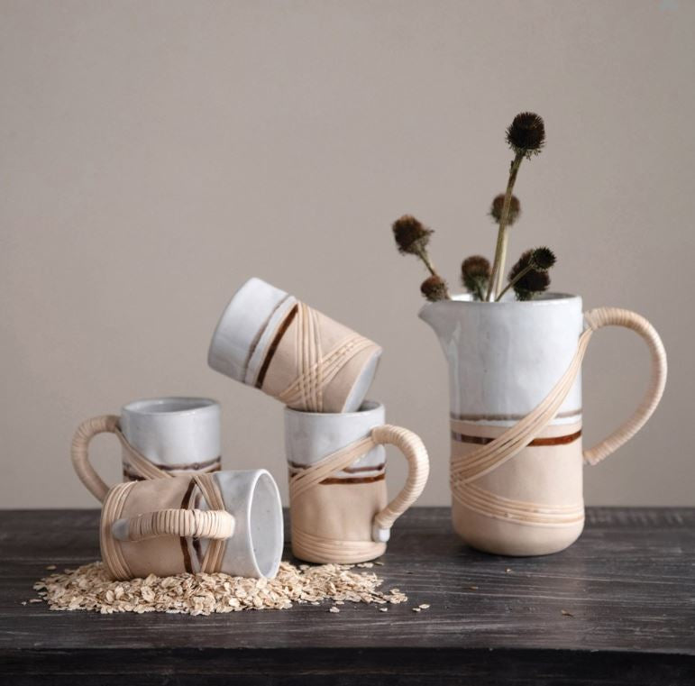 Stoneware Mug with Rattan Wrapped Handle, Reactive Glaze