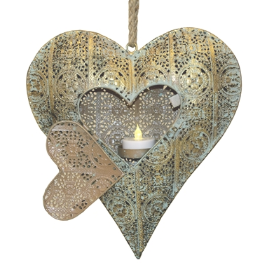 Ashia Gold on Sage Metal Heart Tea Light Holder