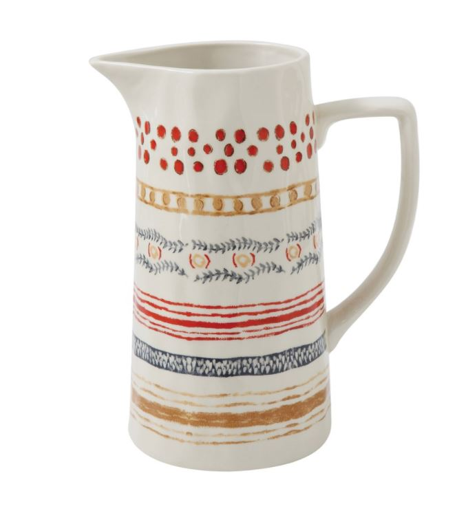 Stoneware Pitcher, Multi-Stripe