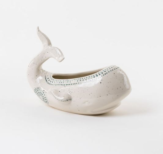 White Ceramic Whale Planter